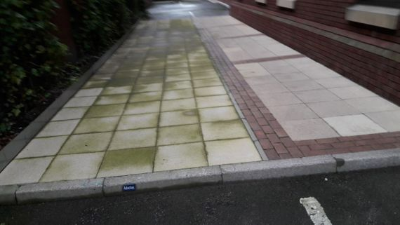 Before and after image of our team using a pressure washer to clean a pathway